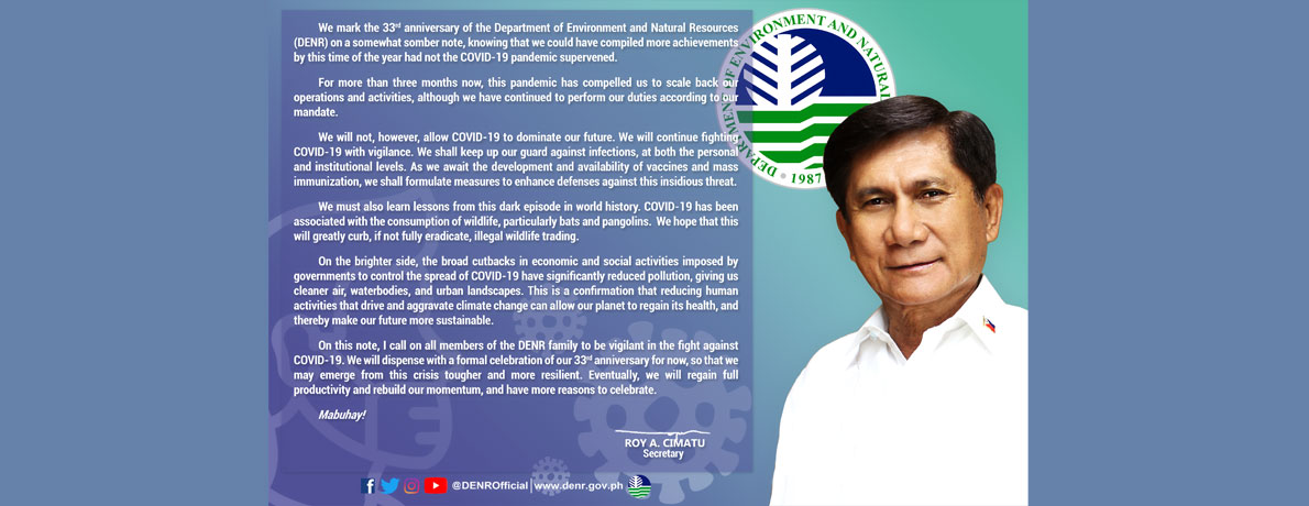 SRAC Message for DENR 33rd Anniversary